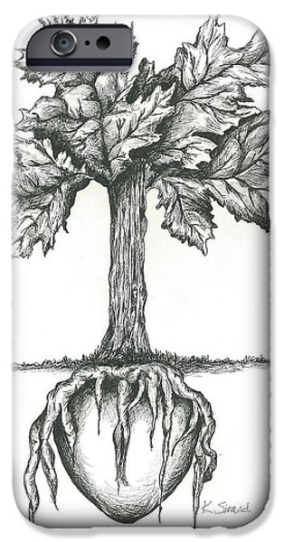 Tree Roots Drawings iPhone Cases - Roots Of The Heart iPhone Case by Karen Sirard