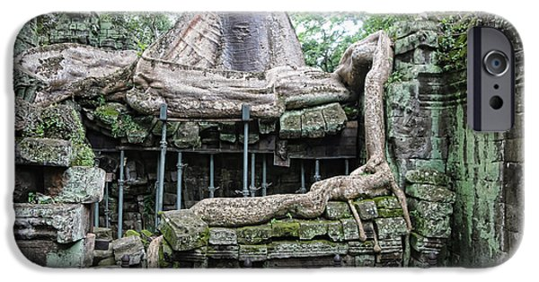 Tree Roots iPhone Cases - Roots Ta Prohm II iPhone Case by Chuck Kuhn