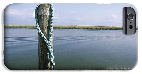 Small iPhone Cases - Rope At Small Harbor iPhone Case by Panoramic Images