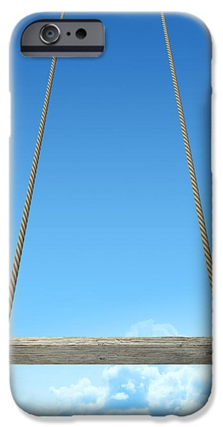 Youth Digital Art iPhone Cases - Rope Swing With Blue Sky iPhone Case by Allan Swart