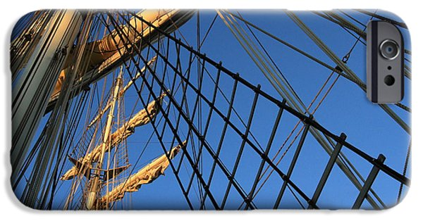 Sailing iPhone Cases - Ropes and Flags iPhone Case by Four Hands Art