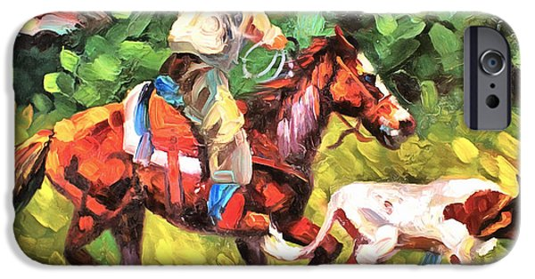Roping Horse iPhone Cases - Roping A Runaway iPhone Case by Studio Artist