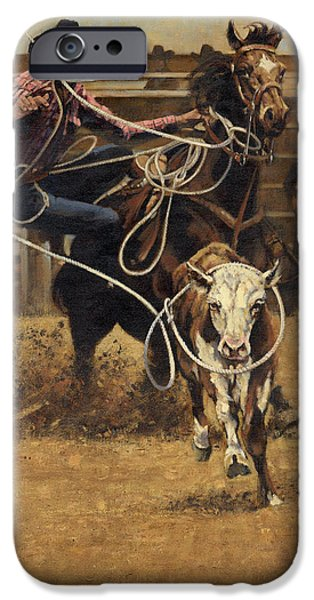 Steer Paintings iPhone Cases - Rodeo Roping Young Steer iPhone Case by Don  Langeneckert