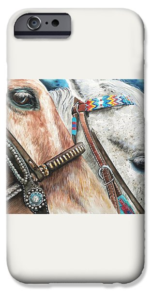 Roping Horses iPhone Case by Nadi Spencer