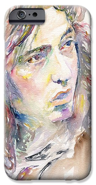 Mick Jagger Paintings iPhone Cases - Rory Gallagher iPhone Case by Marina Sotiriou