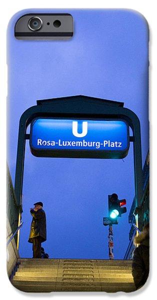 U-bahn iPhone Cases - Rosa Luxemburg iPhone Case by Adrien E