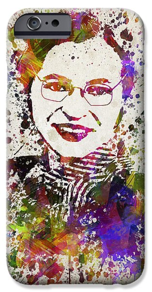 Activist iPhone Cases - Rosa Parks in Color iPhone Case by Aged Pixel