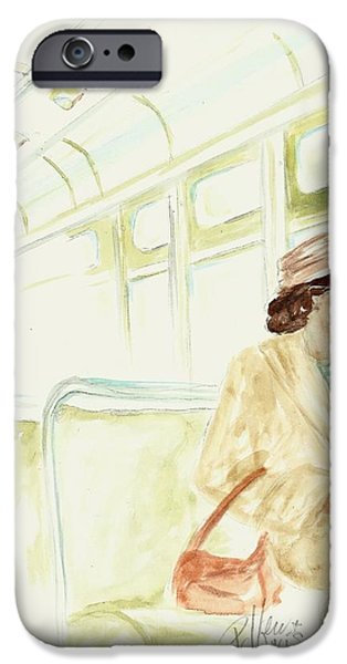 African-american Drawings iPhone Cases - Rosa Parks rides iPhone Case by P J Lewis