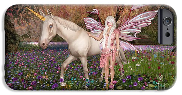 Unicorn Art Greeting Card iPhone Cases - Rosalia Fairy iPhone Case by Christy Spencer