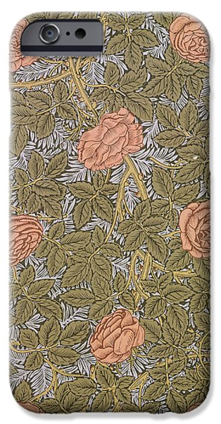 Design Tapestries - Textiles iPhone Cases - Rose 93 wallpaper design iPhone Case by William Morris