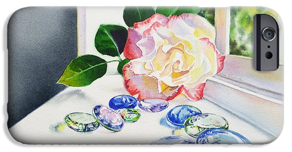 Floral Still Life Paintings iPhone Cases - Rose and Glass Rocks iPhone Case by Irina Sztukowski