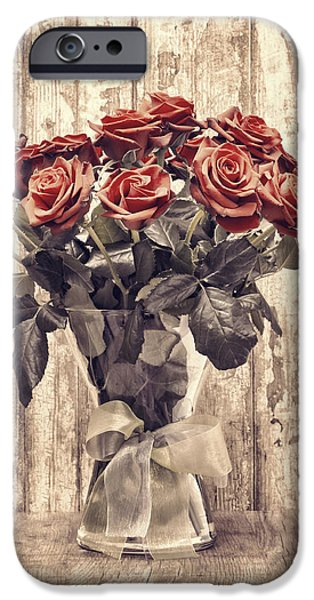 Indoor Still Life iPhone Cases - Bouquet Roses iPhone Case by Wim Lanclus