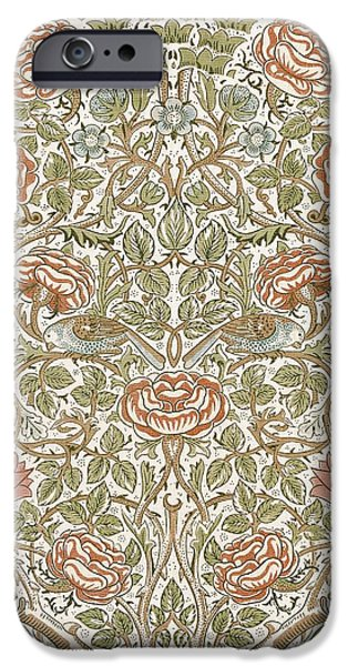 Food And Beverage Tapestries - Textiles iPhone Cases - Rose Design iPhone Case by William Morris