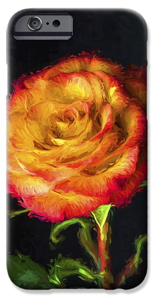 Painter Print Photographs iPhone Cases - Rose digitally dipped in wet paint iPhone Case by David Haskett