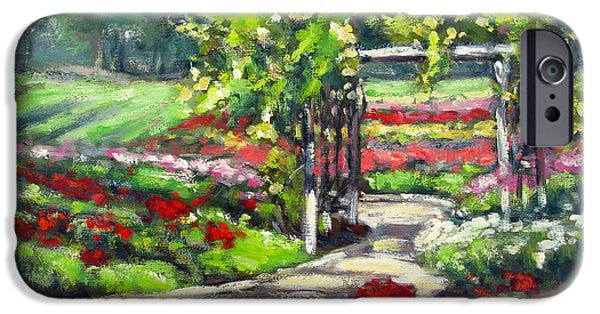 Garden Scene Paintings iPhone Cases - Rose Garden Arbor iPhone Case by Vickie Fears