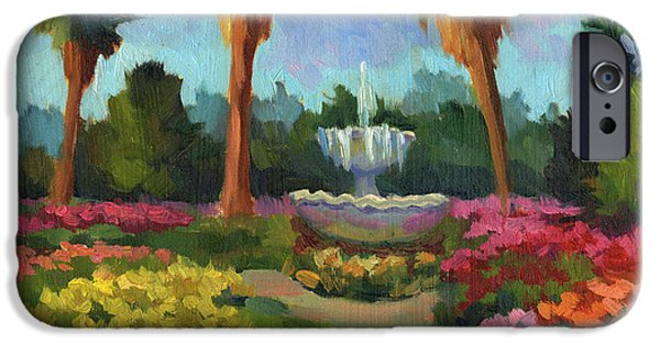 Garden Scene Paintings iPhone Cases - Rose Garden iPhone Case by Diane McClary