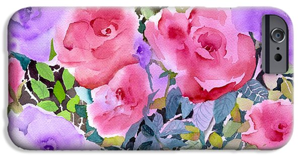 Pinks And Purple Petals iPhone Cases - Rose Garden iPhone Case by Neela Pushparaj