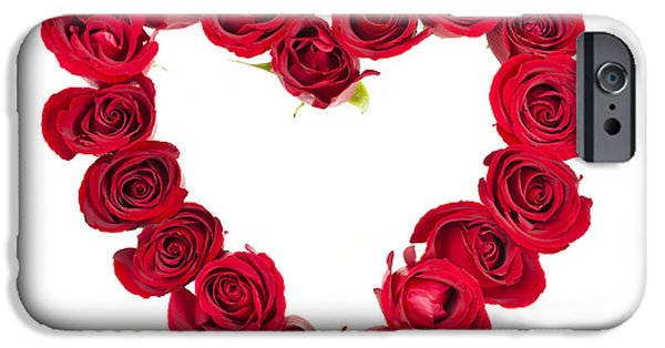 Shape iPhone Cases - Rose heart iPhone Case by Elena Elisseeva