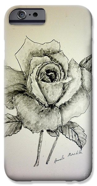 Monotone Paintings iPhone Cases - Rose in Monotone iPhone Case by Pamela  Meredith