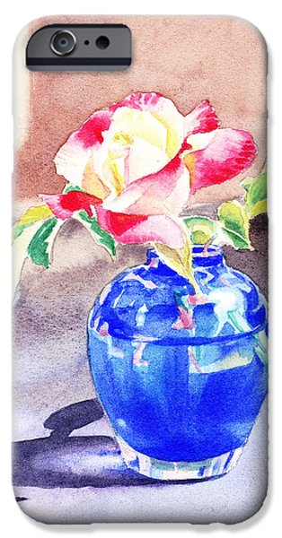 Green Rose iPhone Cases - Rose in the Blue Vase  iPhone Case by Irina Sztukowski