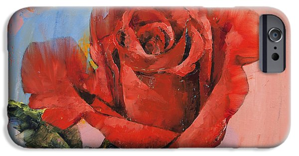 Michael iPhone Cases - Rose Painting iPhone Case by Michael Creese