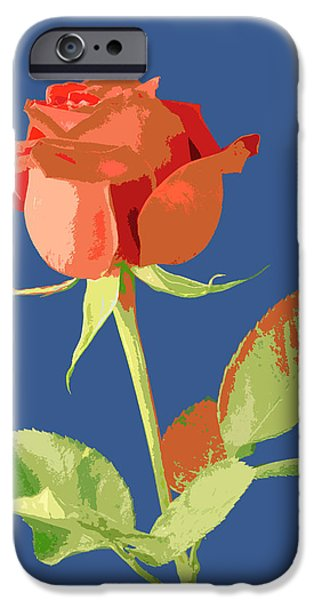 Abstract Digital Pyrography iPhone Cases - Rose on Blue iPhone Case by Mauro Celotti