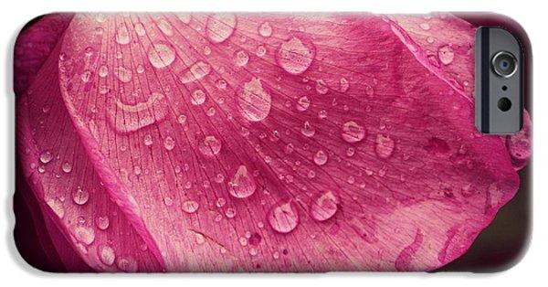 Rainy Day iPhone Cases - Rose Petal Raindrops  iPhone Case by Lauren Maki