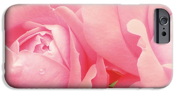Little Girl Photographs iPhone Cases - Rose Photography Pink Roses Pink Flower Photography Baby Girl Nursery Art Soft Girly Pink Wall Art iPhone Case by Amy Tyler