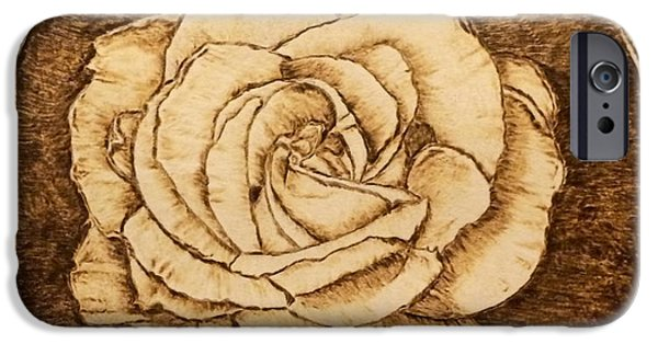 Close Up Floral Pyrography iPhone Cases - Rose without a Thorn iPhone Case by Dale Bradley