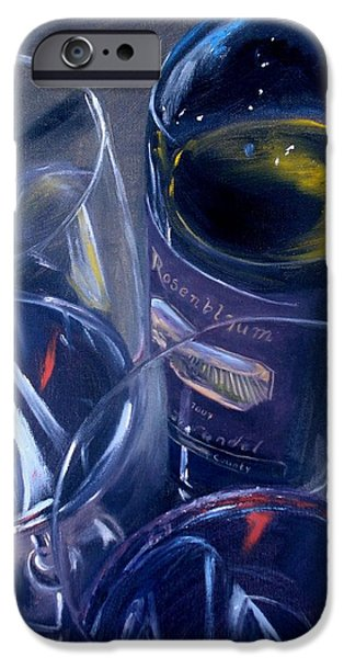 Red Wine iPhone Cases - Rosenblum and Glasses iPhone Case by Donna Tuten