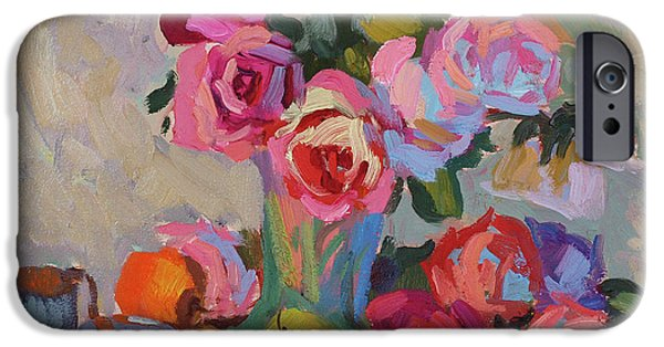 Peach Rose iPhone Cases - Roses and Apples iPhone Case by Diane McClary