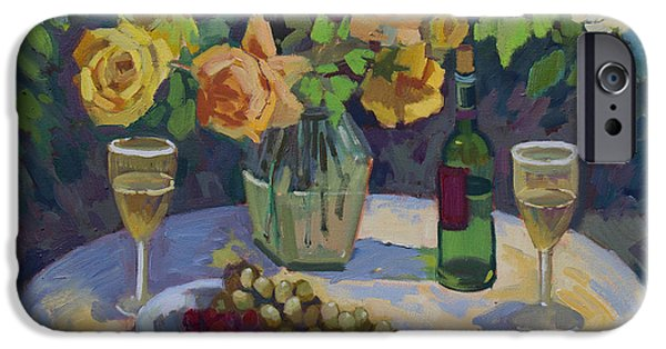 Al Fresco iPhone Cases - Roses and Chardonnay iPhone Case by Diane McClary