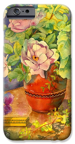 Indoor Still Life iPhone Cases - Roses And Pansies iPhone Case by Julia Rowntree