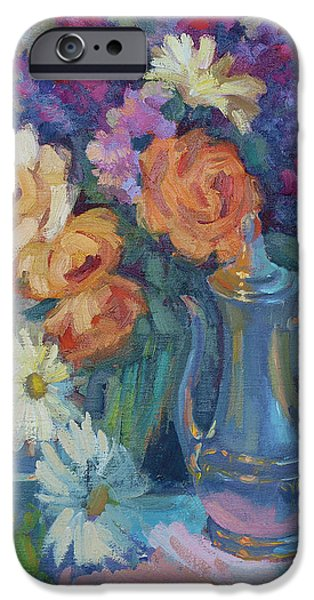 Rose iPhone Cases - Roses and Silver iPhone Case by Diane McClary