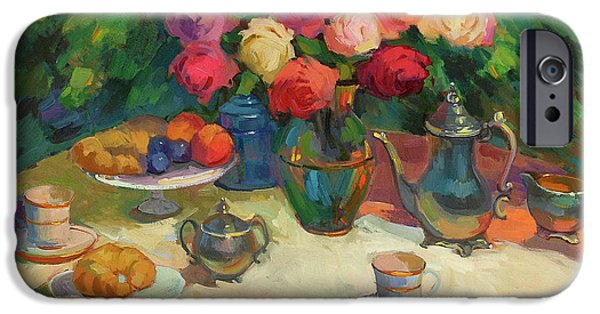 Rose iPhone Cases - Roses and Tea iPhone Case by Diane McClary