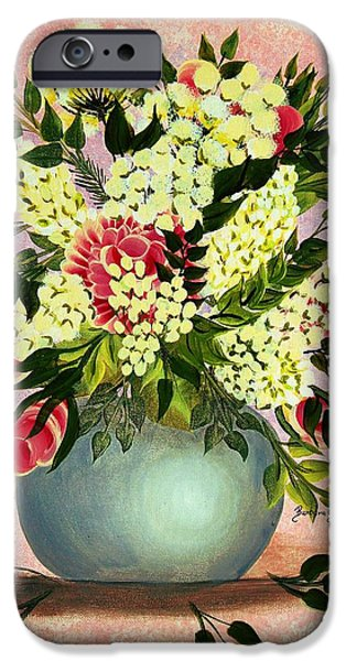 Flower Of Life iPhone Cases - Roses and White Lilacs iPhone Case by Barbara Griffin