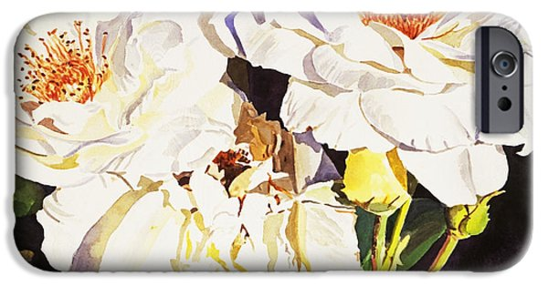 Rose iPhone Cases - Roses Blanc iPhone Case by David Lloyd Glover