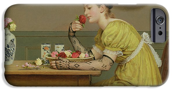 Young Paintings iPhone Cases - Roses iPhone Case by George Dunlop Leslie