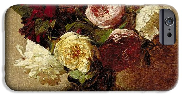 Florals Paintings iPhone Cases - Roses iPhone Case by Ignace Henri Jean Fantin-Latour