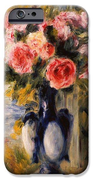 Pierre Auguste Renoir iPhone Cases - Roses in a Blue Vase iPhone Case by Pierre Auguste Renoir