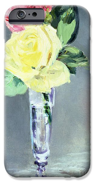 Still Life iPhone Cases - Roses in a Champagne Glass iPhone Case by Edouard Manet