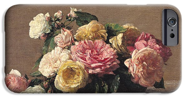 Floral Photographs iPhone Cases - Roses In A Dish, 1882 Oil On Canvas iPhone Case by Ignace Henri Jean Fantin-Latour