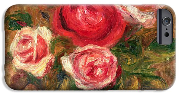 Blossoms iPhone Cases - Roses in a Pot iPhone Case by Pierre Auguste Renoir