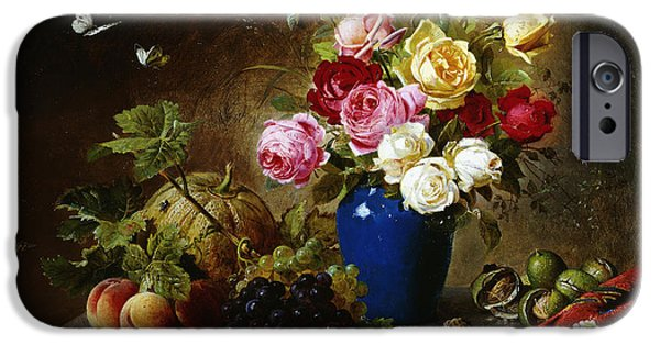 Ledge iPhone Cases - Roses in a Vase Peaches Nuts and a Melon on a Marbled Ledge iPhone Case by Olaf August Hermansen