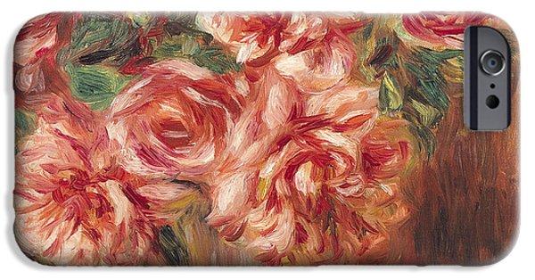Pierre Auguste Renoir iPhone Cases - Roses in a Vase iPhone Case by Pierre Auguste Renoir