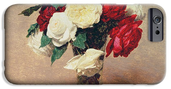 19th Century iPhone Cases - Roses in a Vase with Stem iPhone Case by Ignace Henri Jean Fantin-Latour