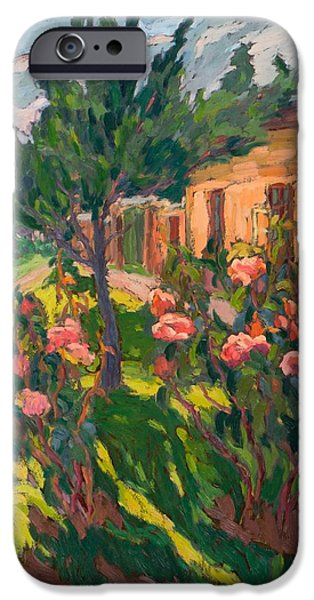 Floral Photographs iPhone Cases - Roses In My Forecourt, 2012 Oil On Board iPhone Case by Marta Martonfi-Benke