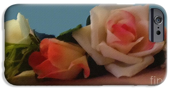 Botanical Pastels iPhone Cases - Roses in Still Life iPhone Case by Pharris Art