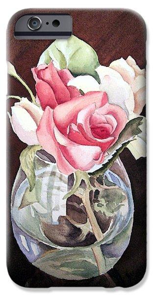Glass Vase iPhone Cases - Roses in the Glass Vase iPhone Case by Irina Sztukowski