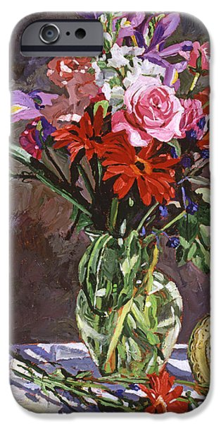 Table Top iPhone Cases - Roses Irises And Gerbras iPhone Case by David Lloyd Glover